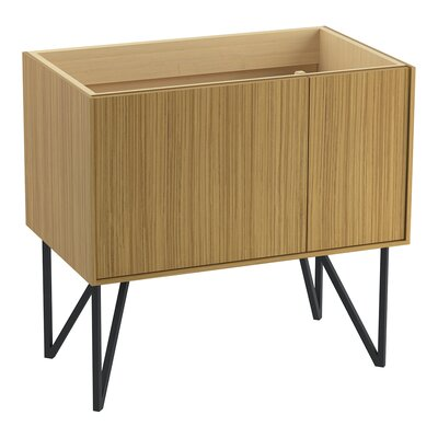 Jute 36 Vanity Base with 1 Door and 1 Drawer on Left Finish: Corduroy Teak