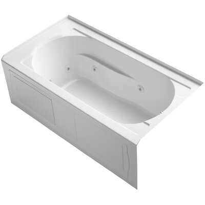 Devonshire Alcove Whirlpool with Integral Apron, Tile Flange, Right-Hand Drain and Bask Heated Surface Finish: White