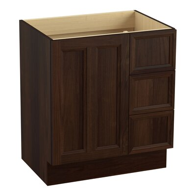 Damask� 30 Vanity with Toe Kick, 1 Door and 3 Drawers on Right Finish: Ramie Walnut