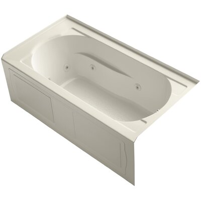 Devonshire Alcove Whirlpool with Integral Apron, Tile Flange, Right-Hand Drain and Bask� Heated Surface Finish: Almond