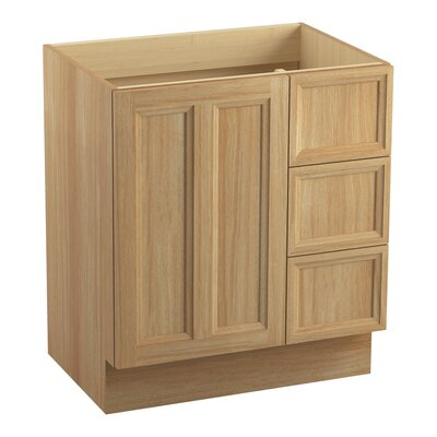 Damask� 30 Vanity with Toe Kick, 1 Door and 3 Drawers on Right Finish: Khaki White Oak
