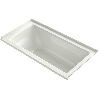 Archer VibrAcoustic� Three-Wall Alcove Bath with Bask� Heated Surface, Tile Flange and Right-Hand Drain Finish: Dune