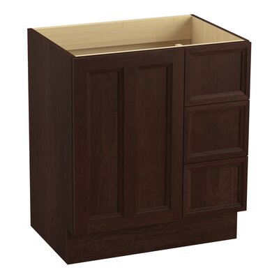 Damask� 30 Vanity with Toe Kick, 1 Door and 3 Drawers on Right Finish: Cherry Tweed