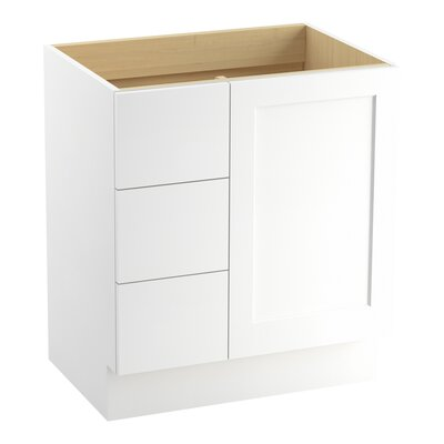 Poplin� 30 Vanity with Toe Kick, 1 Door and 3 Drawers on Left Finish: Linen White