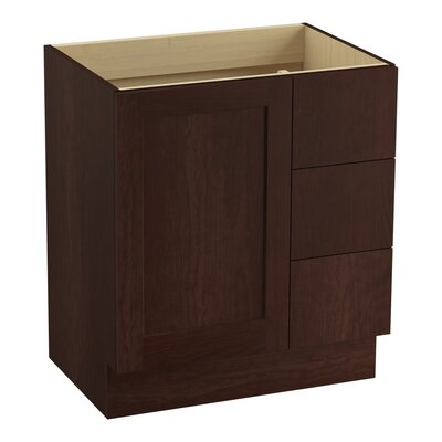 Poplin 30 Vanity with Toe Kick, 1 Door and 3 Drawers on Right Finish: Cherry Tweed