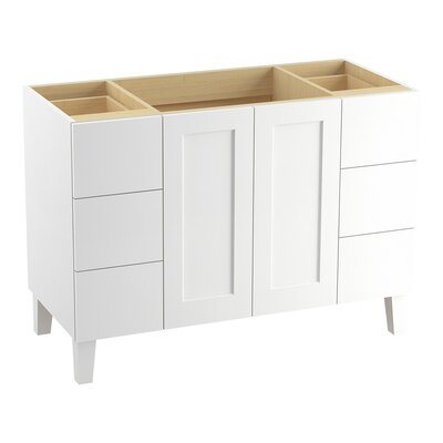"Poplin 48"" Vanity Base with Furniture Legs, 2 Doors and 6 Drawers Finish: Linen White"