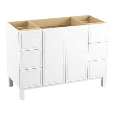 Jacquard 48 Vanity with Furniture Legs, 2 Doors and 6 Drawers Finish: Linen White