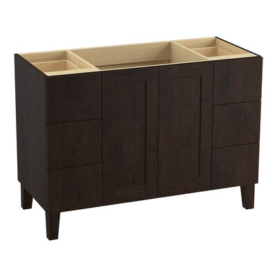 Poplin 48 Vanity with Furniture Legs, 2 Doors and 6 Drawers, Split Top Drawers Finish: Claret Suede