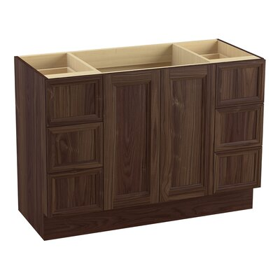 Damask 48 Vanity with Toe Kick, 2 Doors and 6 Drawers, Split Top Drawers Finish: Terry Walnut