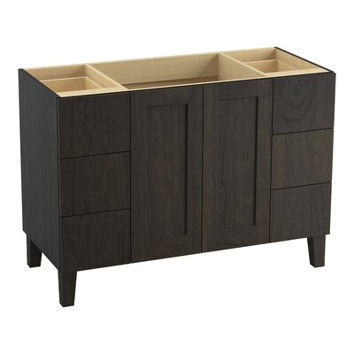 Poplin Tones 48 Vanity with Furniture Legs, 2 Doors and 6 Drawers, Split Top Drawers Finish: Felt Grey