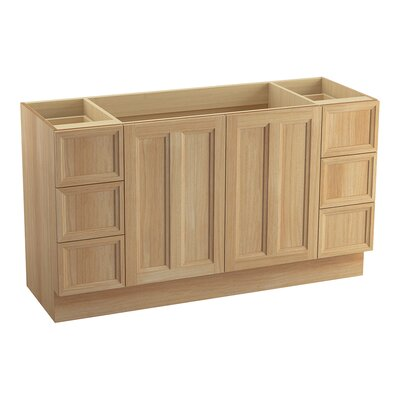 Damask� 60 Vanity with Toe Kick, 2 Doors and 6 Drawers, Split Top Drawers Finish: Khaki White Oak