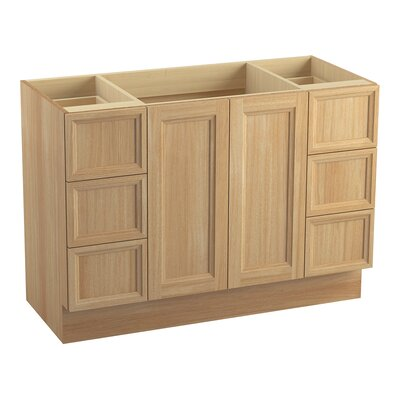 "Damask 48"" Vanity Base with Toe Kick, 2 Doors and 6 Drawers, Split Top Drawers Finish: Khaki White Oak"