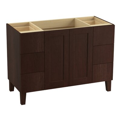 Poplin Tones 48 Vanity with Furniture Legs, 2 Doors and 6 Drawers, Split Top Drawers Finish: Cherry Tweed