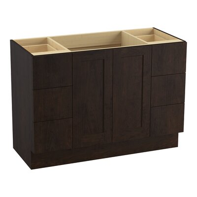 "Poplin 48"" Vanity Base with Toe Kick, 2 Doors and 6 Drawers, Split Top Drawers Finish: Claret Suede"
