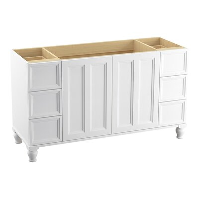 Damask� 60 Vanity with Furniture Legs, 2 Doors and 6 Drawers, Split Top Drawers Finish: Linen White