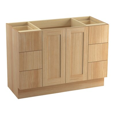 Poplin 48 Vanity with Toe Kick, 2 Doors and 6 Drawers, Split Top Drawers Finish: Khaki White Oak