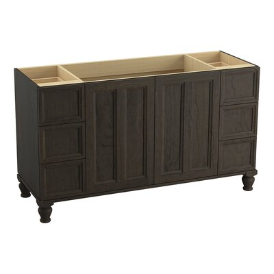 Damask 60 Vanity with Furniture Legs, 2 Doors and 6 Drawers Finish: Felt Grey