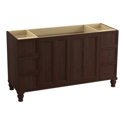 Damask 60 Vanity with Furniture Legs, 2 Doors and 6 Drawers, Split Top Drawers Finish: Cherry Tweed
