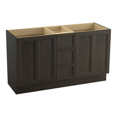 Damask� 60 Vanity with Toe Kick, 2 Doors and 3 Drawers, Split Top Drawer Finish: Felt Grey