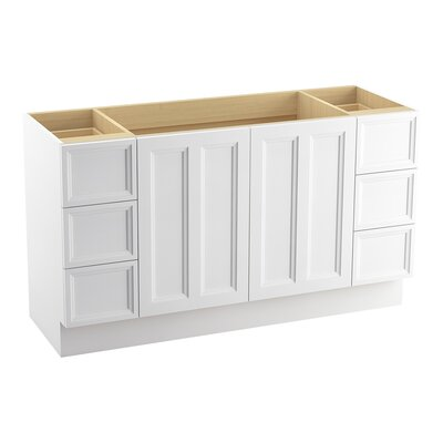 Damask� 60 Vanity with Toe Kick, 2 Doors and 6 Drawers, Split Top Drawers Finish: Linen White