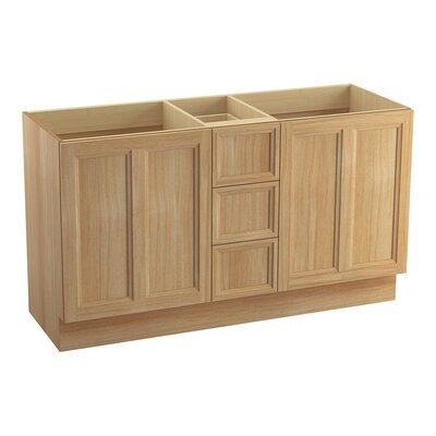 Damask� 60 Vanity with Toe Kick, 2 Doors and 3 Drawers, Split Top Drawer Finish: Khaki White Oak