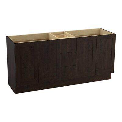 Poplin 72 Vanity with Toe Kick, 4 Doors and 3 Drawers, Split Top Drawer Finish: Claret Suede