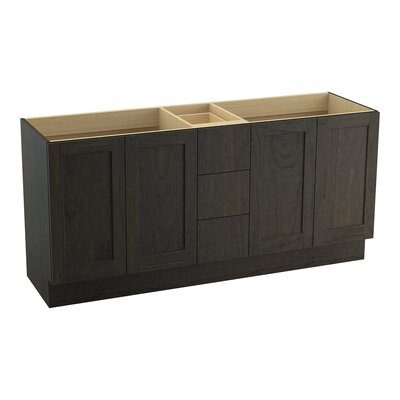 Poplin 72 Vanity with Toe Kick, 4 Doors and 3 Drawers, Split Top Drawer Finish: Felt Grey