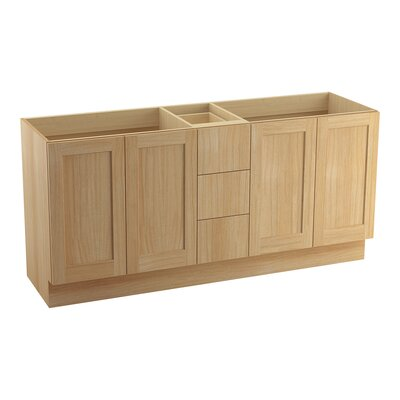 Poplin� 72 Vanity with Toe Kick, 4 Doors and 3 Drawers, Split Top Drawer Finish: Khaki White Oak