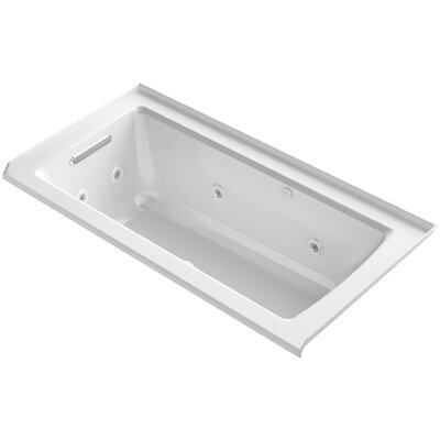 Archer Integral Flange Whirlpool and BubbleMassage Air Bath with Left-Hand Drain Finish: White