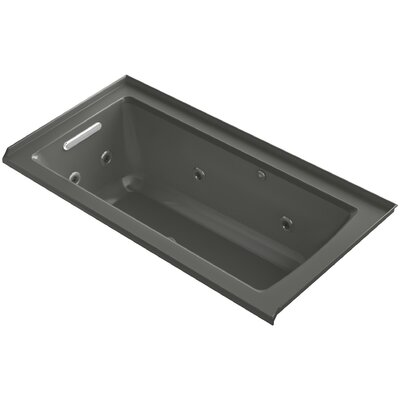 Archer Integral Flange Whirlpool and BubbleMassage Air Bath with Left-Hand Drain Finish: Thunder Grey