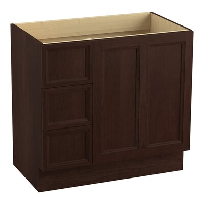 Damask� 36 Vanity with Toe Kick, 1 Door and 3 Drawers on Left Finish: Cherry Tweed