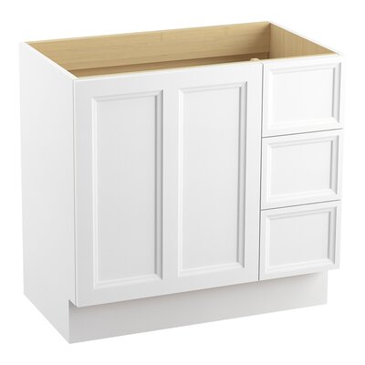 Damask� 36 Vanity with Toe Kick, 1 Door and 3 Drawers on Right Finish: Linen White