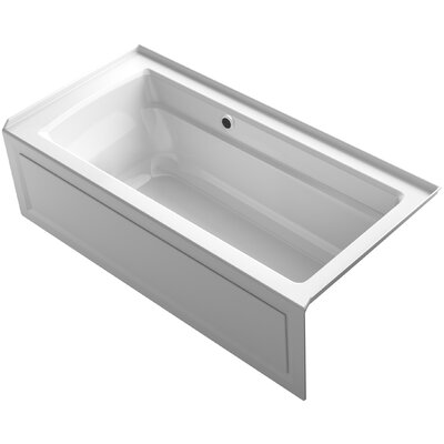 Archer Alcove Bath with Bask? Heated Surface, Integral Apron, Tile Flange and Right-Hand Drain Finish: White