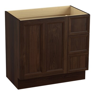 Damask� 36 Vanity with Toe Kick, 1 Door and 3 Drawers on Right Finish: Ramie Walnut