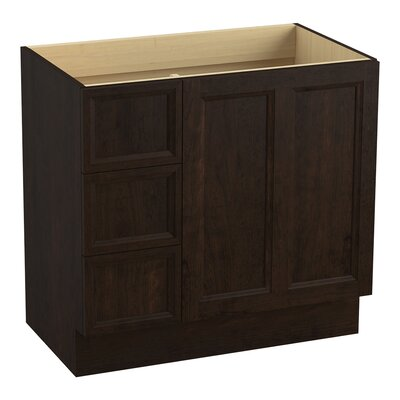 Damask 36 Vanity with Toe Kick, 1 Door and 3 Drawers on Left Finish: Claret Suede