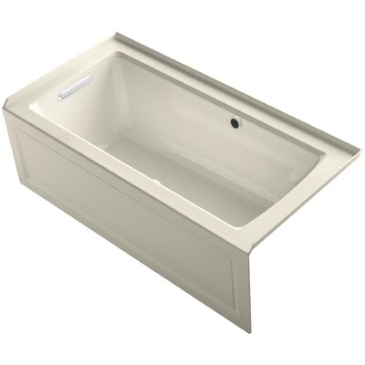 Archer Alcove Bubblemassage Air Bath with Integral Apron, Left-Hand Drain and Bask Heated Surface Finish: Almond