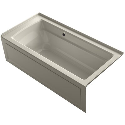 Archer Alcove Bath with Bask? Heated Surface, Integral Apron, Tile Flange and Right-Hand Drain Finish: Sandbar