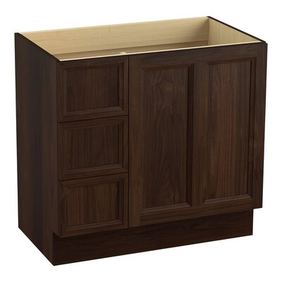 Damask 36 Vanity with Toe Kick, 1 Door and 3 Drawers on Left Finish: Ramie Walnut