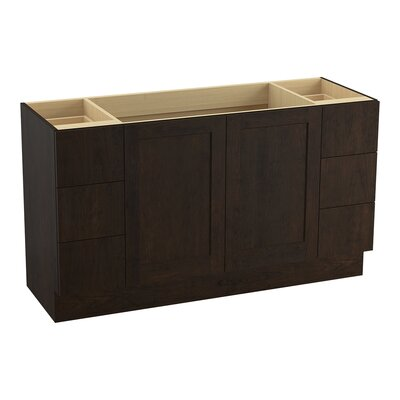 "Poplin 60"" Vanity Base with Toe Kick, 2 Doors and 6 Drawers, Split Top Drawers Finish: Claret Suede"