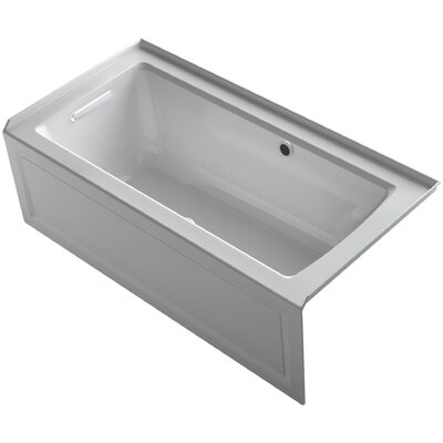Archer Alcove Bubblemassage Air Bath with Integral Apron, Left-Hand Drain and Bask Heated Surface Finish: Ice Grey