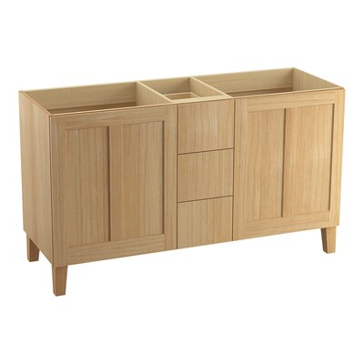 Poplin 60 Vanity with Furniture Legs, 2 Doors and 3 Drawers, Split Top Drawer Finish: Khaki White Oak
