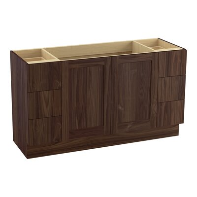 Poplin� 60 Vanity with Toe Kick, 2 Doors and 6 Drawers, Split Top Drawers Finish: Terry Walnut