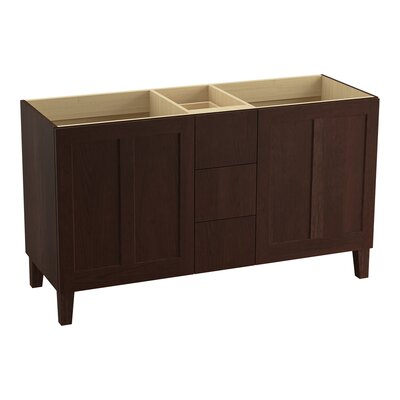 Poplin 60 Vanity with Furniture Legs, 2 Doors and 3 Drawers, Split Top Drawer Finish: Cherry Tweed