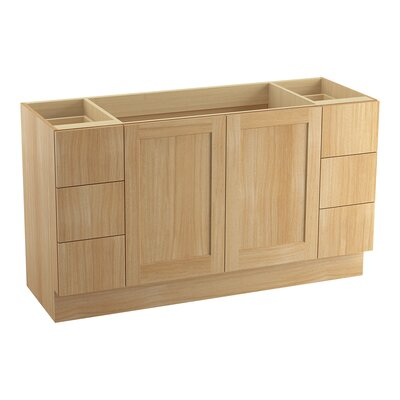 Poplin� 60 Vanity with Toe Kick, 2 Doors and 6 Drawers, Split Top Drawers Finish: Khaki White Oak