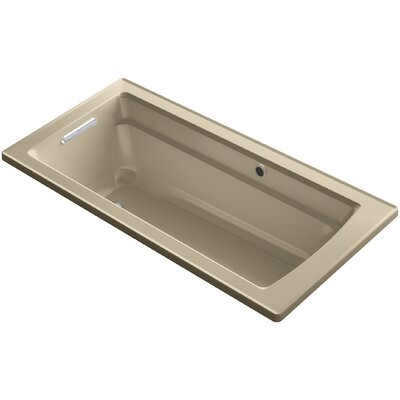 Archer Drop-in Bath with Bask Heated Surface and Reversible Drain Finish: Mexican Sand