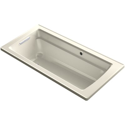 Archer Drop-in Bath with Bask� Heated Surface and Reversible Drain Finish: Almond