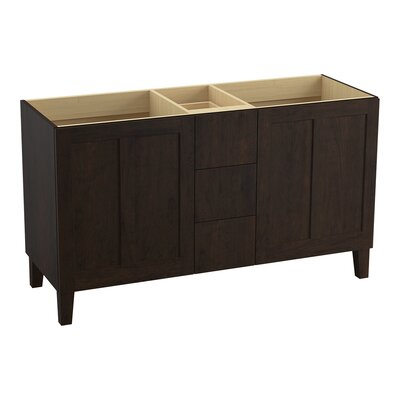 Poplin 60 Vanity with Furniture Legs, 2 Doors and 3 Drawers, Split Top Drawer Finish: Claret Suede
