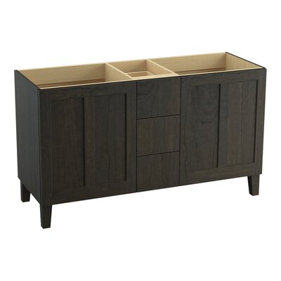 Poplin 60 Vanity with Furniture Legs, 2 Doors and 3 Drawers, Split Top Drawer Finish: Felt Grey