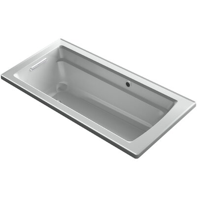 Archer Drop-in Bath with Bask� Heated Surface and Reversible Drain Finish: Ice Grey