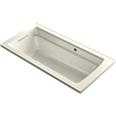Archer Drop-in Bath with Bask Heated Surface and Reversible Drain Finish: Biscuit